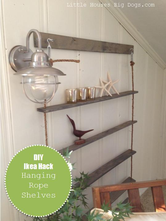 ikea hack hanging rope shelves with graphic