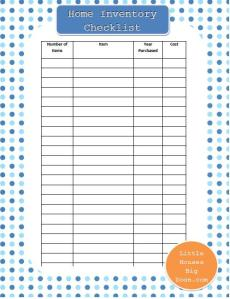 Home Inventory Checklist printable