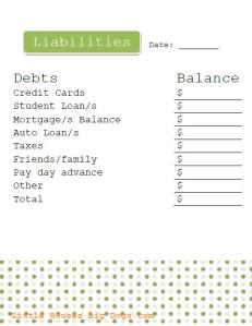 Free Investment Printables Liabilities Tracker