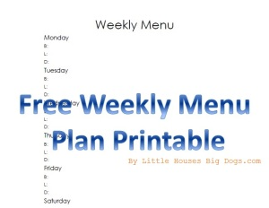 Free Weekly Menu Plan printable