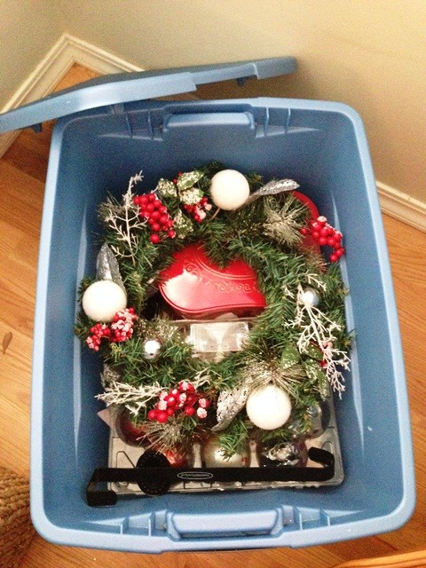storing away Christmas decorations