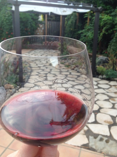 enjoying-the-new-backyard-with-a-glass-of-red-wine-california-small-dog-friendly-water-wise-backyard-make-over.jpg